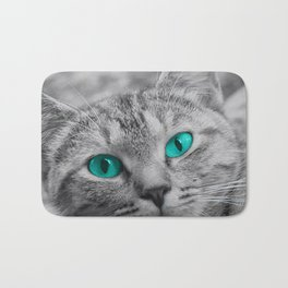 Cat with Piercing Turquoise Eyes Bath Mat
