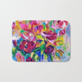 Abstract Colorful Flowers Bath Mat