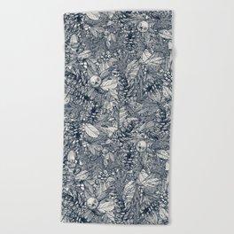 forest floor indigo ivory Beach Towel
