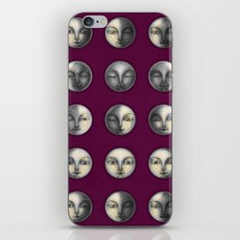 moon phases on dark purple iPhone Skin