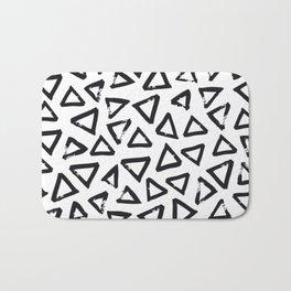 Black Brushstroke Triangel Pattern, Scandinavian Design Bath Mat