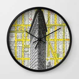 Flatiron Building - NYC Map Background Landmark urban city decor Wall Clock