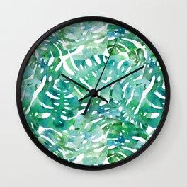 Tropical Monstera leaf watercolor spring art print Wall Clock
