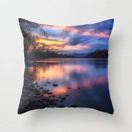 The Edge of Night sunset on the Sacramento River Throw Pillow