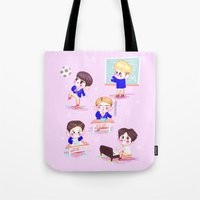 shinee Tote Bags featuring school shinee by sophillustration