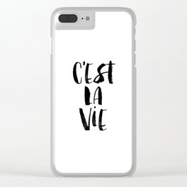 C'est La Vie black and white watercolor typography wall art home decor hand lettered life quote Clear iPhone Case