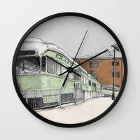 hook Wall Clocks featuring Red Hook by Lane Scarano