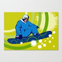 snowboarding Canvas Prints featuring Snowboarding by patrimonio