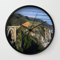 big sur Wall Clocks featuring Big Sur by Brie Anne Demkiw