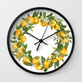 Citrus OrangeTree Branches with Flowers and Fruits Wall Clock
