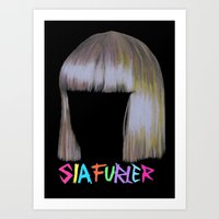 amy sia Art Prints featuring Sia head by Melina Espinoza