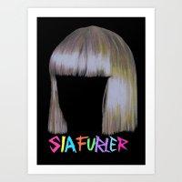 sia Art Prints featuring Sia head by Melina Espinoza
