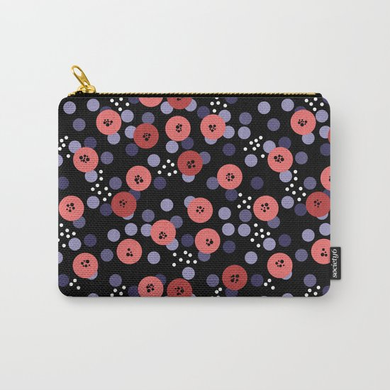 Polka dot 5 .Salmon on a black background . Carry-All Pouch