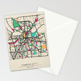 Colorful City Maps: Kansas City, Missouri Stationery Cards