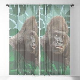 Gorilla in Jungle big Monstera Leaves #leaves #gorilla Sheer Curtain