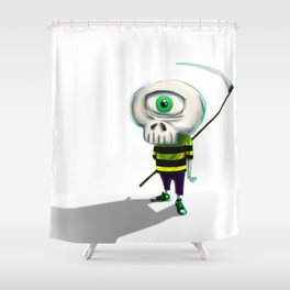 One eye casual skeleton Shower Curtain