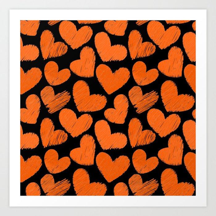 Sketchy hearts in orange and black Art Print