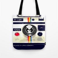 polaroid Tote Bags featuring Polaroid by Adrienne