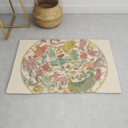 Libra Antique Astrology Zodiac Pictorial Map Rug