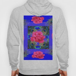 CONTEMPORARY PINK ROSES & PEACOCK FEATHERS BLUE ART Hoody
