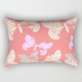 Butterflies on Coral Red Rectangular Pillow