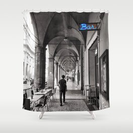 Black and white Bologna Street Photography Shower Curtain