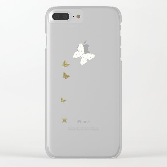 Golden touch I - Gold glitter small polkadots pattern- Confetti on #Society6 Clear iPhone Case