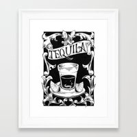 tequila Framed Art Prints featuring tequila by Caetano Calomino