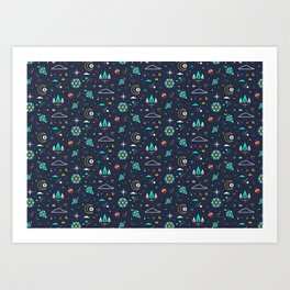 Lets take a walk (it's dark) pattern Art Print