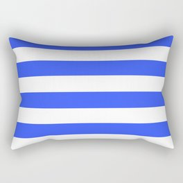 Even Horizontal Stripes, Blue and White, L Rectangular Pillow