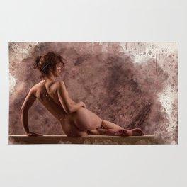 Nude woman watercolor vintage Rug