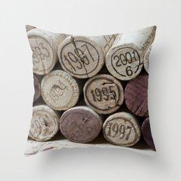 Vintage Wine Corks Throw Pillow
