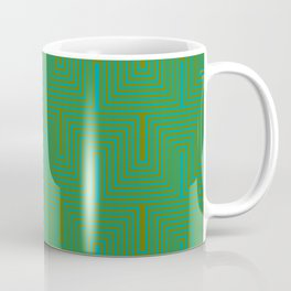 Doors & corners op art pattern in olive green and aqua blue Coffee Mug
