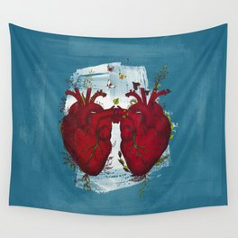 two hearts beating as one Wall Tapestry