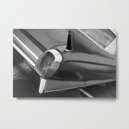 Tail Fin Close Up Photo, Classic Car, Black and White Metal Print