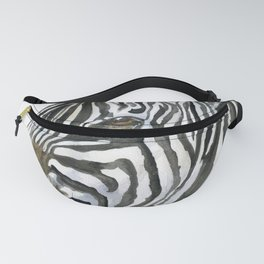 Zebra Watercolor Painting - African Animal Painting Wildlife Head Bust Fanny Pack
