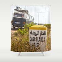 casablanca Shower Curtains featuring Casablanca milestone with old Volkswagen microbus by Premium