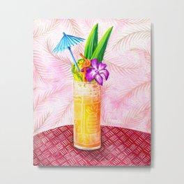 Tiki Drinks no.1 - gouache painting Metal Print