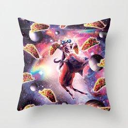 Thug Space Cat On Goat Unicorn - Taco Throw Pillow