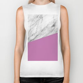 Marble with Spring Crocus Color Biker Tank