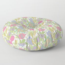 Seven Species Botanical Fruit and Grain with Pastel Colors Floor Pillow