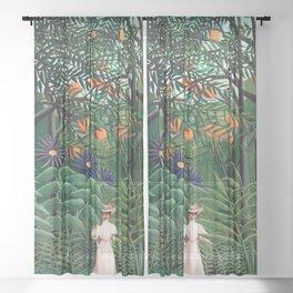 Henri Rousseau - Woman Walking in an Exotic Forest Sheer Curtain