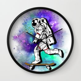 Space Skating Astronaut Skateboard Skater tee t-shirt Wall Clock