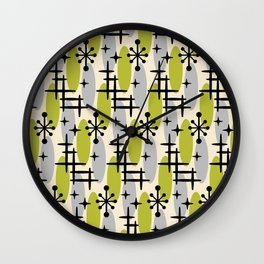 Retro Mid Century Modern Cosmic Surfer Pattern 232 Olive and Gray Wall Clock