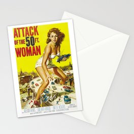 Attack Of The 50 Foot Woman, vintage horror movie poster Stationery Cards