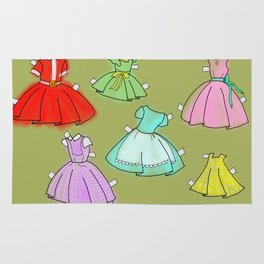 1950's paper doll dresses Rug