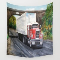 truck Wall Tapestries featuring White Truck by Shannon  by shannon's art space