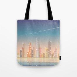City skyline at night Tote Bag