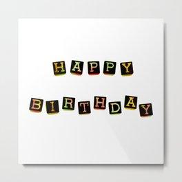 Happy Birthday Blocks Metal Print