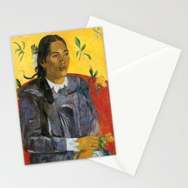 Tahitian Woman with a Flower by Paul Gauguin Stationery Cards